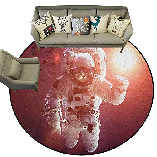 (Space Cat,Custom Floor mats Pet Cat in Outer Space Planet Meteors Galaxy with Astronaut Suit Image D60 Multi-USE Floor MAT)