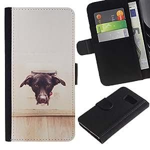 LASTONE PHONE CASE / Lujo Billetera de Cuero Caso del tirón Titular de la tarjeta Flip Carcasa Funda para Samsung Galaxy S6 SM-G920 / Dog Vignette Brown Black Labrador Puppy