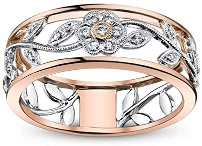 14k Rose Gold Flower Wedding Ring Exquisite Two Tone 925 Silver Floral  Jewelry