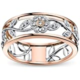 Zhx Exquisite Women's 925 Sterling Silver Floral Ring Proposal Gift Two Tone Diamond Jewelry 18K Rose Gold Vine Flower…