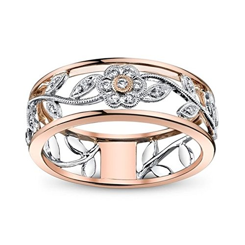 Sterling Silver Flower Vine - ZHX Exquisite Women's 925 Sterling Silver Floral Ring Proposal Gift Two Tone Diamond Jewelry 18K Rose Gold Vine Flower Bridal Engagement Rings Wedding Band Size 6-10 Multi-Color 9