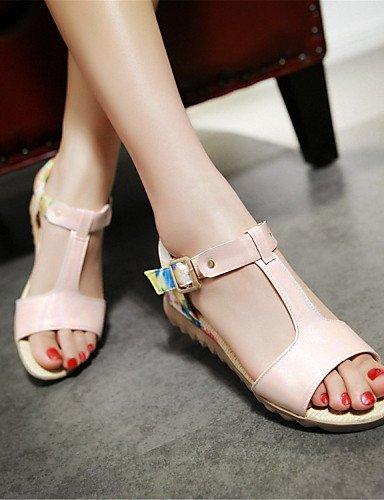 LFNLYX Zapatos de mujer-Tacón Plano-Comfort-Sandalias-Exterior / Vestido / Casual / Fiesta y Noche-Semicuero-Azul / Rosa / Blanco Blue