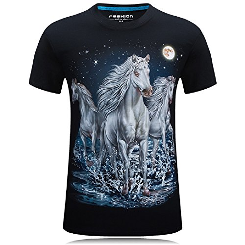 Glowish Starry Sky Horse T-Shirts Fashion 3D Printed Men's Short-Sleeved Tee -