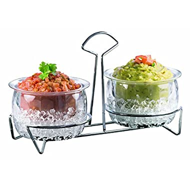 Savannah Kitchen Twin Chips and Dip Server, Chilled Condiment Server On Ice, Cold Food Chiller Serving Bowls, Non-Toxic BPA-Free Shatterproof Clear Acrylic Containers, Stylish Heavy-Duty Chrome Caddy