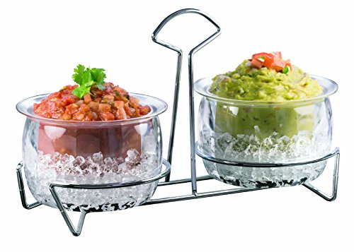 [Savannah Kitchen Twin Chips and Dip Server, Chilled Condiment Server On Ice, Cold Food Chiller Serving Bowls, Non-Toxic BPA-Free Shatterproof Clear Acrylic Containers, Stylish Heavy-Duty Chrome] (Easy Halloween Cold Appetizers)