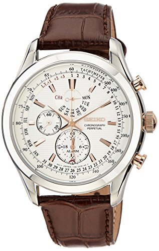 Seiko Men's SPC129P1 Neo Classic Alarm Perpetual Chronograph White Dial Brown Leather ()