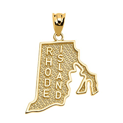 Rhode Island State Map Charm Pendant in 10k Yellow Gold
