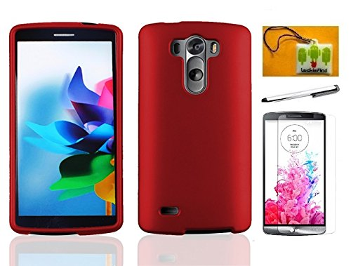 LF 4 in 1 Bundle - Red Hard Case Cover, Stylus Pen, Screen Protector & Wiper For (Verizon, AT&T, Sprint, T-Mobile) LG G3 (Red)