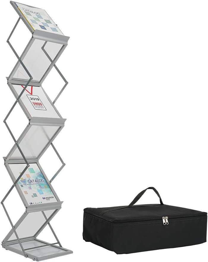 PUJIANG Literature Catalog Rack Foldable Magazine Brochure Display Rack Stand with Portable Oxford Bag for Office Store and Exhibition Trade Show (6 Pockets)