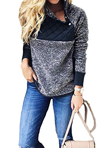 casuress Fashion Women's Casual Long Sleeve Sweater Contrast Button Fleece Pullover Sweatershirts Jacket Hoodies Blue/Gray