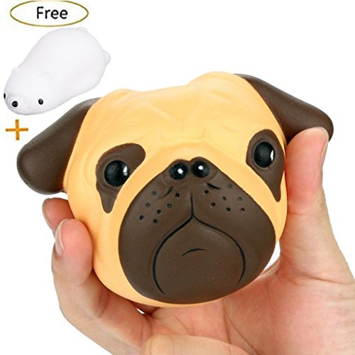 JETTINGBUY 1 PCS Pug Dog Kawaii Jumbo Cream Scented Slow Rising Squishy Charms Squeeze Kid Toy for Stress Relief and Time Killing, Home Decoration (Dog Pug Toy)