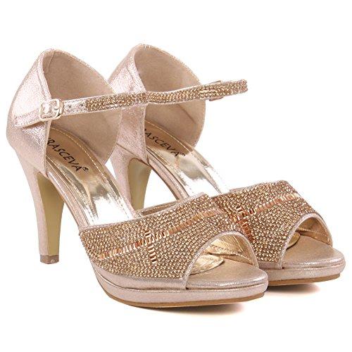 Unze Zapatos para mujer Brillante Cross Over correa superior diseño de la tela de la Corte Gold
