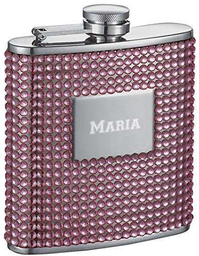 (Personalized 6oz. Visol Rosie Pink Bling Liquor Flask with Free Laser Engraving)