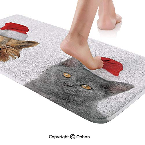 Christmas Rug Runner,Adorable Cat and Dog with Xmas Hats Domestic Pet Animals Holiday Celebration Decorative,Plush Door Carpet Floor Kitchen Decor Mat with Non Slip Backing,71 X 24 Inches,Orange Grey ()