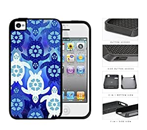 Blue Sea Turtles With Floral Designs 2-Piece Dual Layer High Impact Rubber Silicone Cell Phone Case Apple iPhone 4 4s by ruishername