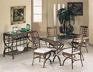 5 Pc Metal And Glass Rectangular Table Dining Table Set Table