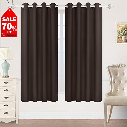 HOMEIDEAS Blackout Curtains Room Darkening Thermal Insulated Grommet Drapes for Bedroom (52 x 63 Inches, Chocolate, 2 (Chocolate Brown Drapes)