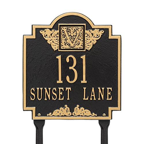 Whitehall Products Monogram Standard Lawn Square Black/Gold 2-Line Address Plaque