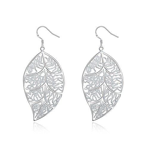 SAYLAVE Textured Lace Leaf Dangle Earrings Women Girls Beautiful Hoop Earrings (Sterling Silver Lace Filigree)