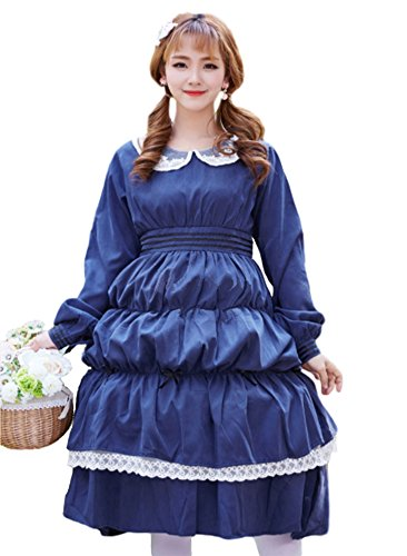 Pomm Wien Lolita dress maid costume French long dress for women (L (Asia Size), navy blue) - Cafe Maid Costume