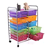JAXPETY Office School Rolling Storage Cart Scrapbook Paper Unit Organizer Rack Shelves w/Wheels 15 Drawers