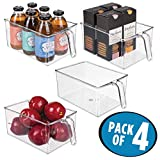 organizing a pantry  Plastic Kitchen Pantry Cabinet Refrigerator Storage Organizer Bin Holder with Handle - for Organizing Individual Packets, Snacks Food, Produce, Pasta - Food Safe - Pack of 4, Large, Clear