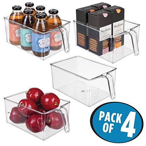 Plastic Kitchen Pantry Cabinet Refrigerator Storage Organizer Bin Holder with Handle - for Organizing Individual Packets, Snacks Food, Produce, Pasta - Food Safe - Pack of 4, Large, Clear