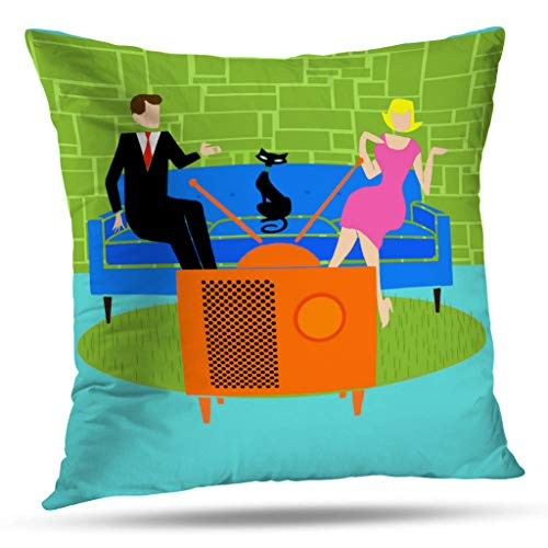 Pakaku Decorativepillows Case Throw Pillows Covers for Couch/Bed 16 x 16 inch,Retro Couple with Cat Mid Century Modern Home Sofa Cushion Cover Pillowcase Gift Bed Car Living Home