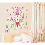 UfingoDecor Cartoon Princess Castle Wall Decals, Children's Room Nursery Removable Wall Stickers Murals