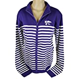 Glitter Gear Kansas State Wildcats Official NCAA Zip-front Cable Knit Cardigan Campus Striped S by