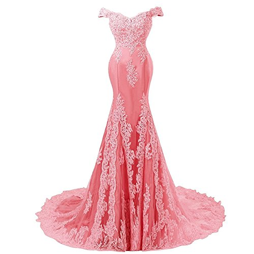 Off Shoulder Mermaid Long Lace Beaded Prom Dress Corset Evening Gowns Coral US 8