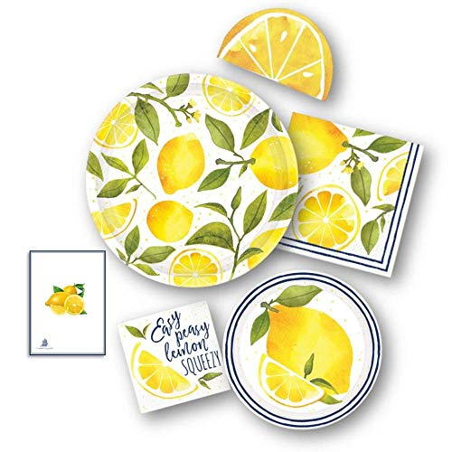 Lemon Sunshine Yellow Party Supply Pack for 16 -Dinner & Dessert/Appetizer Paper Plates with 48 Napkins by Amscan -