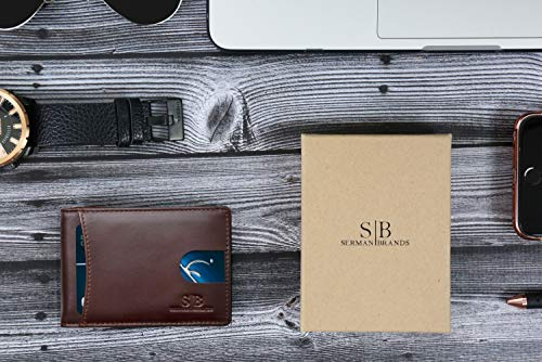 SERMAN BRANDS RFID Blocking Slim Bifold Genuine Leather Minimalist Front Pocket Wallets for Men with Money Clip Thin 6
