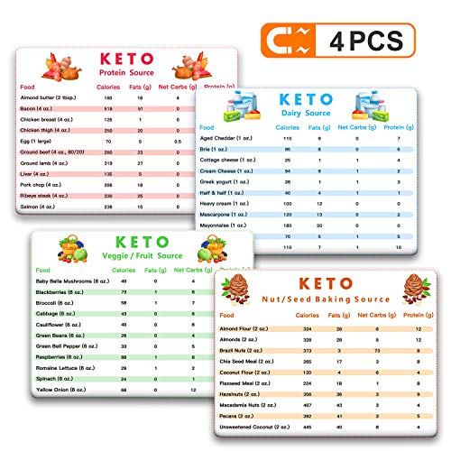 Tecvinci Keto Cheat Sheet Magnets, Ketogenic Diet Foods Cheat Sheet Magnets, Protein Carb Fat Reference Charts Guide, Reference Charts for 45 Ingredients Including Meat, Vegetables, Fruit etc.