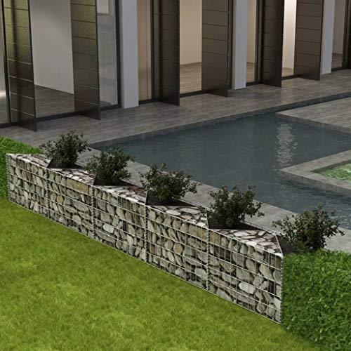 Canditree Outdoor Garden Gabion Planter, Raised Vegetable Bed, Gabion Stone Basket Galvanized Steel Decor for Garden Yard (118.1 x11.8 x19.7 inch)