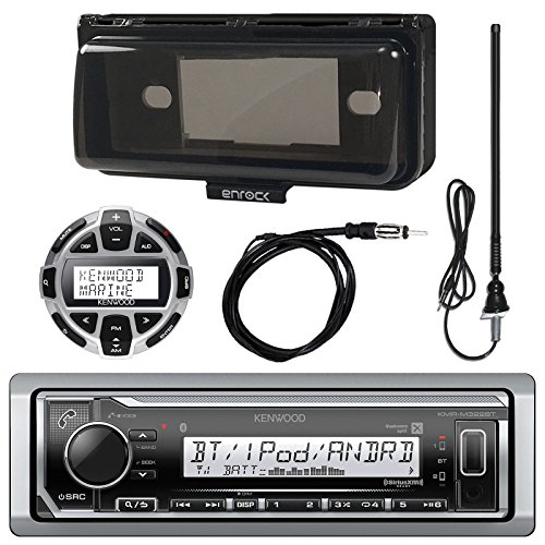 Kenwood KMRM318BT MP3/USB/AUX Marine Boat Yacht Stereo Receiver Bundle Combo With Protective Cove + Wired Remote Control + Enrock Water Resistant 22 Radio Antenna + Outdoor Rubber Mast 45
