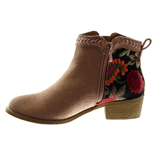 Tacón Boots Moda cm Mocasines Rosa Flores Zapatillas Botas Bordado Perforado Pálido Alto 4 Ancho Angkorly Chelsea Botines Mujer 5xYPnq