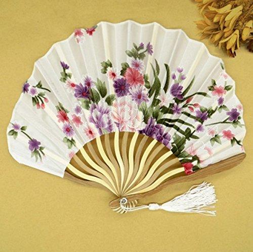 Colorful Summer Style Folding Hand Held Fan Fabric Floral Wedding Dance Favor Pocket Fan 1Pcs