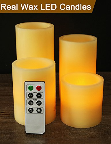 """HOME MOST Set of 4 Real Wax Ivory Flameless Pillar Candles with Remote (Smooth Edge, 3""""/4""""/5""""/6"""" Tall) - LED Pillar Candles Bulk Unscented - Real Wax LED Candles - Decorative LED Candles with Remote"""