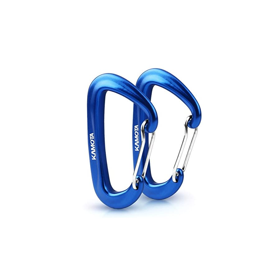 KAMOTA Carabiners, 2 PACK 12KN Aluminium Wiregate Carabiners for Hammocks Clipping On Camping Accessories Keychains and More
