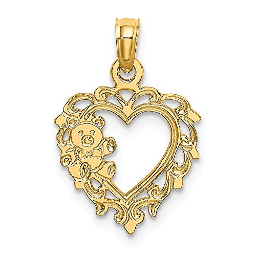 14k Yellow Gold Teddy Bear In Heart Pendant Charm Necklace Love Baby Fine Jewelry Gifts For Women For Her