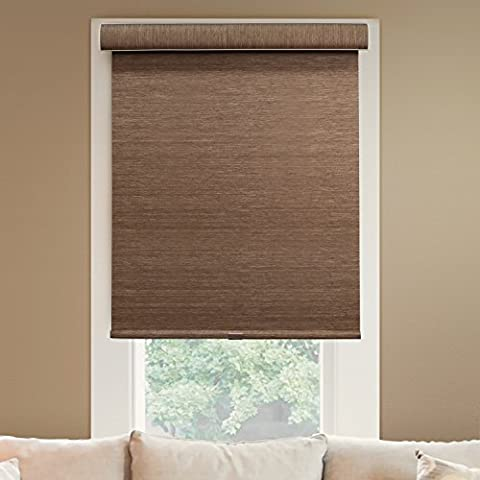 Chicology Deluxe Free-Stop Cordless Roller Shade, Felton - Natural Woven, Privacy - Felton Truffle, 48
