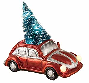 LED Light-up Car and Truck with Lighted Bottle Brush Christmas Tree Holiday Decoration (Car)