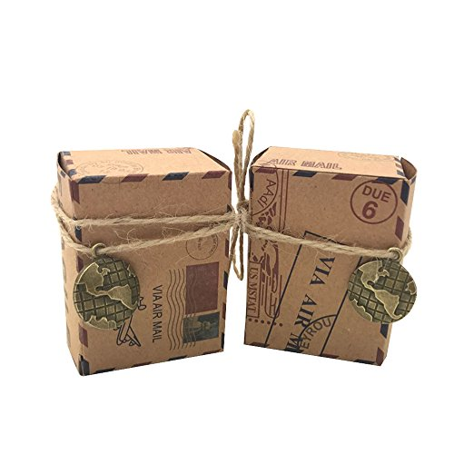 Amajoy 50pcs Vintage Inspired Airmail Favor Box Bonbonniere Kraft Paper Boxes with Globe Decor Burlap Twines for Wedding Airplane Inspired Reception or Travel Themed -