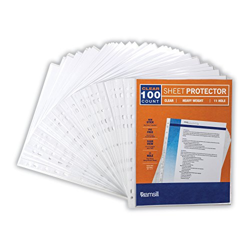 Samsill Heavyweight 11 Hole Clear Sheet Protectors/Acid Free Archival Safe/Polypropylene Sheet/Top Loading Sheet Protectors 8.5 x 11 inches/Box of 100 Page Protectors Bulk/Clear