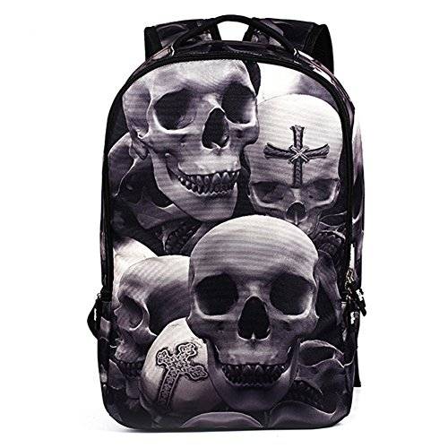 (Urmiss High School Students Skeleton Schoolbag Skull Backpack Traveling Shoulder Bag)