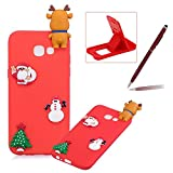 TPU Case for Samsung Galaxy A320 2017,Soft Rubber Cover for Samsung Galaxy A320 2017,Herzzer Ultra Slim Stylish 3D Christmas Santa Claus Deer Series Design Scratch Resistant Shock Absorbing Flexible Silicone Back Case - Red