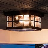 "Luxury Craftsman Outdoor Ceiling Light, Small Size: 5.75""H x 12""W, with Tudor Style Elements, Highly-Detailed Design, High-End Black Silk Finish and Water Glass, UQL1248 by Urban Ambiance"