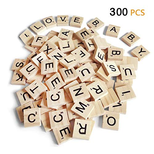 300PCS Scrabble Letters, DIY Wood Gift Decoration ,Making Alphabet Coasters and Scrabble Crossword Game