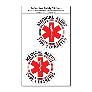 Two Small Medical Alert Type 1 Diabetes Reflective Decals